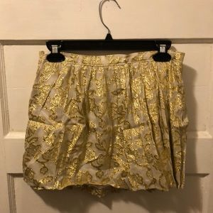 Sparkly gold leaf print skirt Abercrombie new